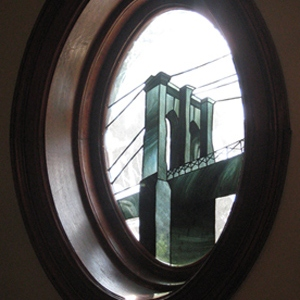 Stained glass Brooklyn Bridge - detail
