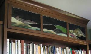 stained glass above library Mt Tam