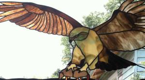 Red tail Hawk stained glass