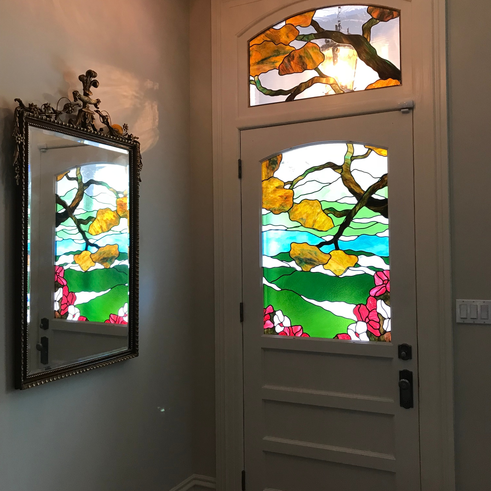 Branches and landscape stained glass